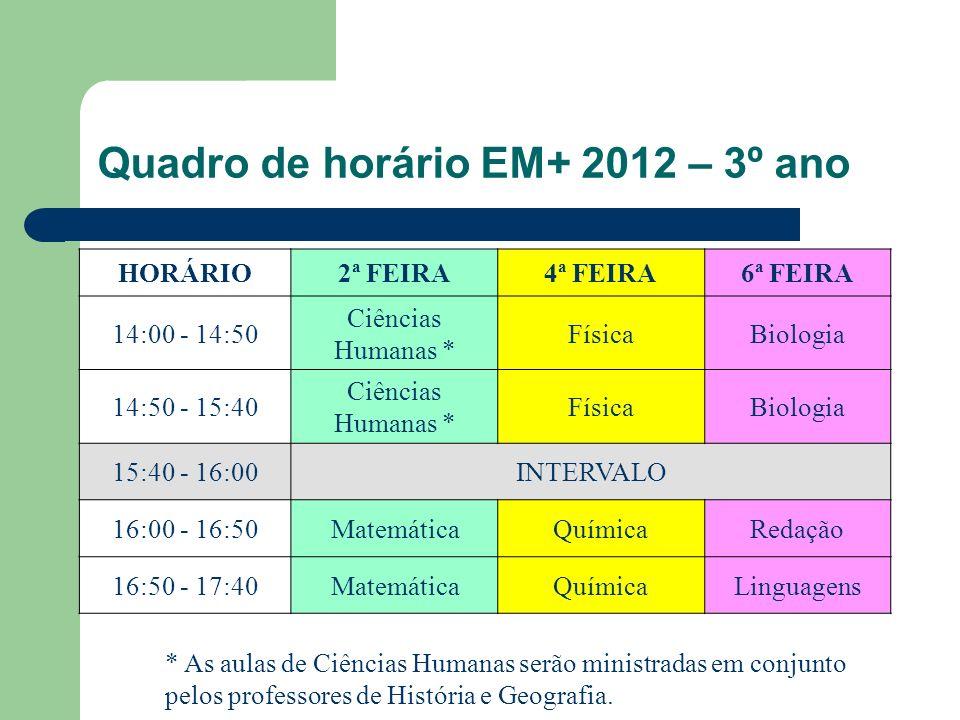 Quadro de horário EM+ 2012 – 3º ano