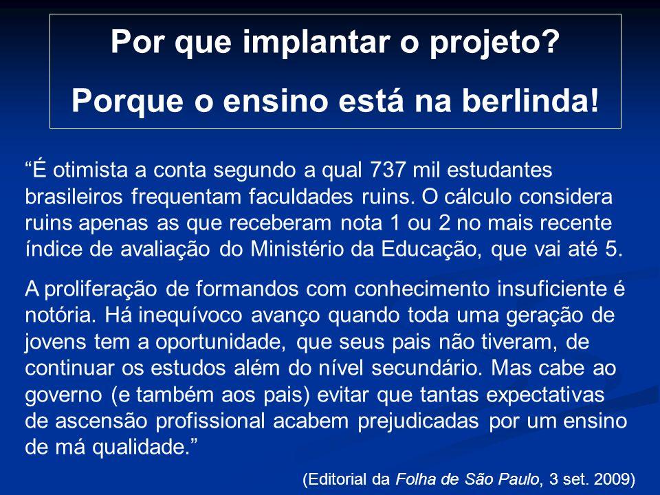 Por que implantar o projeto Porque o ensino está na berlinda!