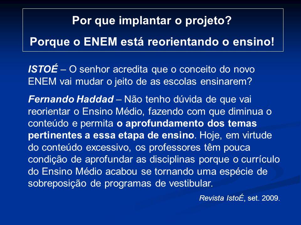 Por que implantar o projeto Porque o ENEM está reorientando o ensino!