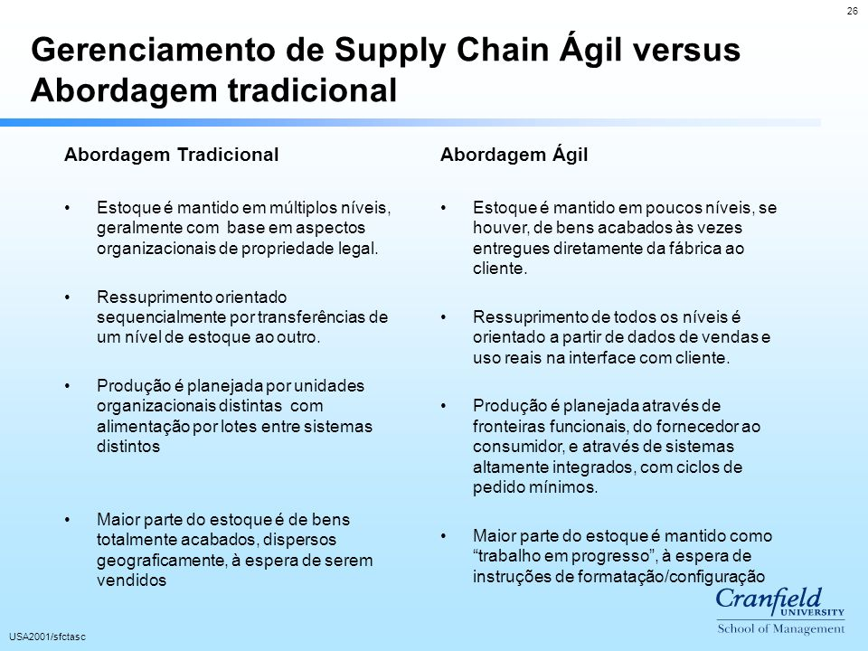 Gerenciamento de Supply Chain Ágil versus Abordagem tradicional