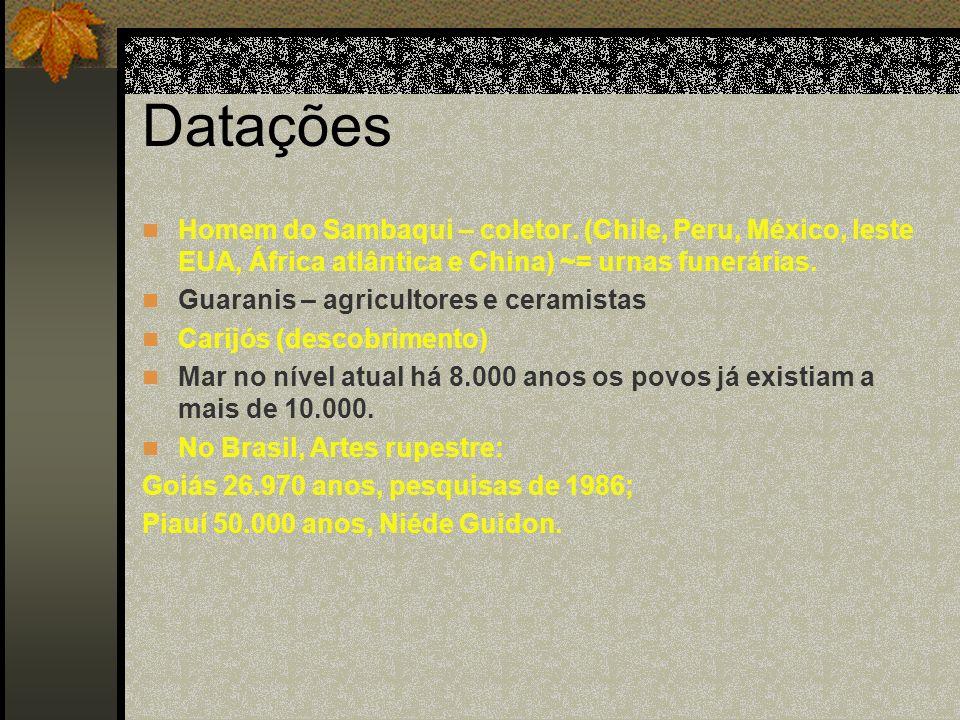 Datações Homem do Sambaqui – coletor. (Chile, Peru, México, leste EUA, África atlântica e China) ~= urnas funerárias.