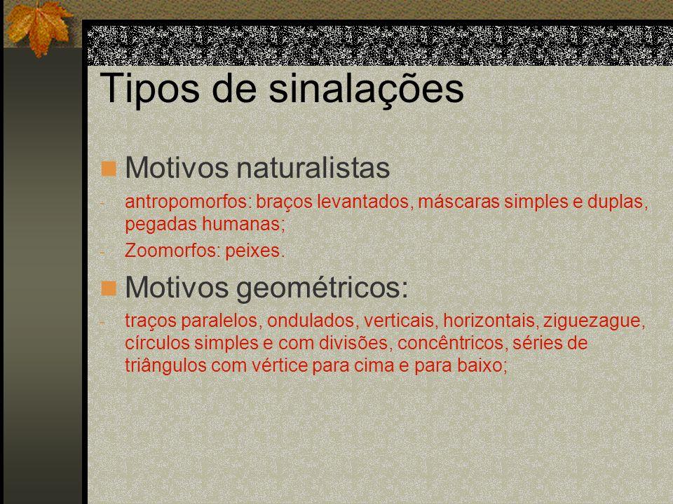 Tipos de sinalações Motivos naturalistas Motivos geométricos: