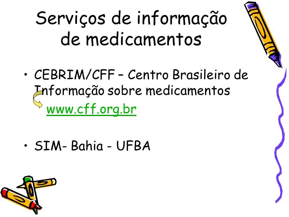 Serviços de informação de medicamentos