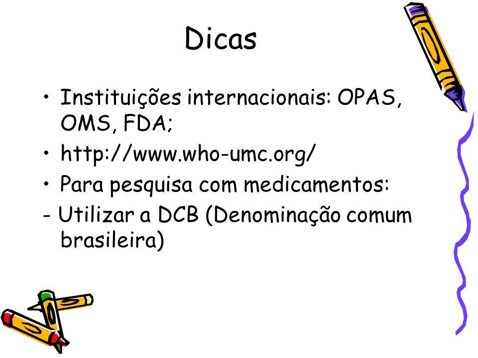 Dicas Instituições internacionais: OPAS, OMS, FDA;