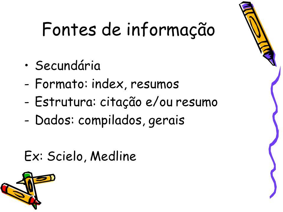 Fontes de informação Secundária Formato: index, resumos
