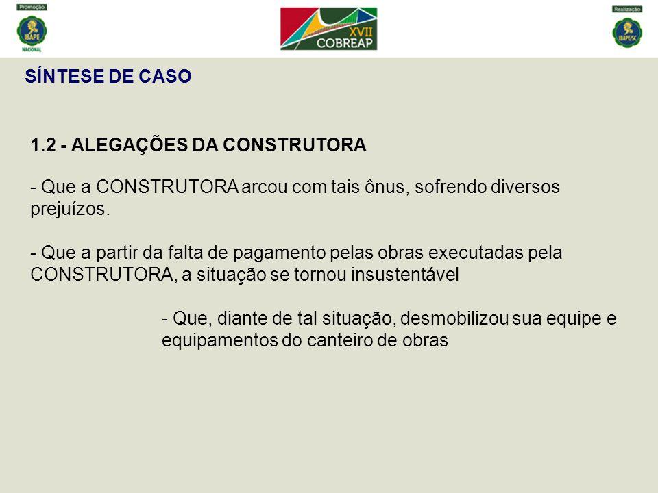SÍNTESE DE CASO 1.2 - ALEGAÇÕES DA CONSTRUTORA - Que a CONSTRUTORA arcou com tais ônus, sofrendo diversos prejuízos.