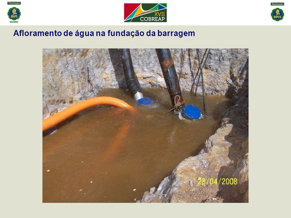 Afloramento de água na fundação da barragem