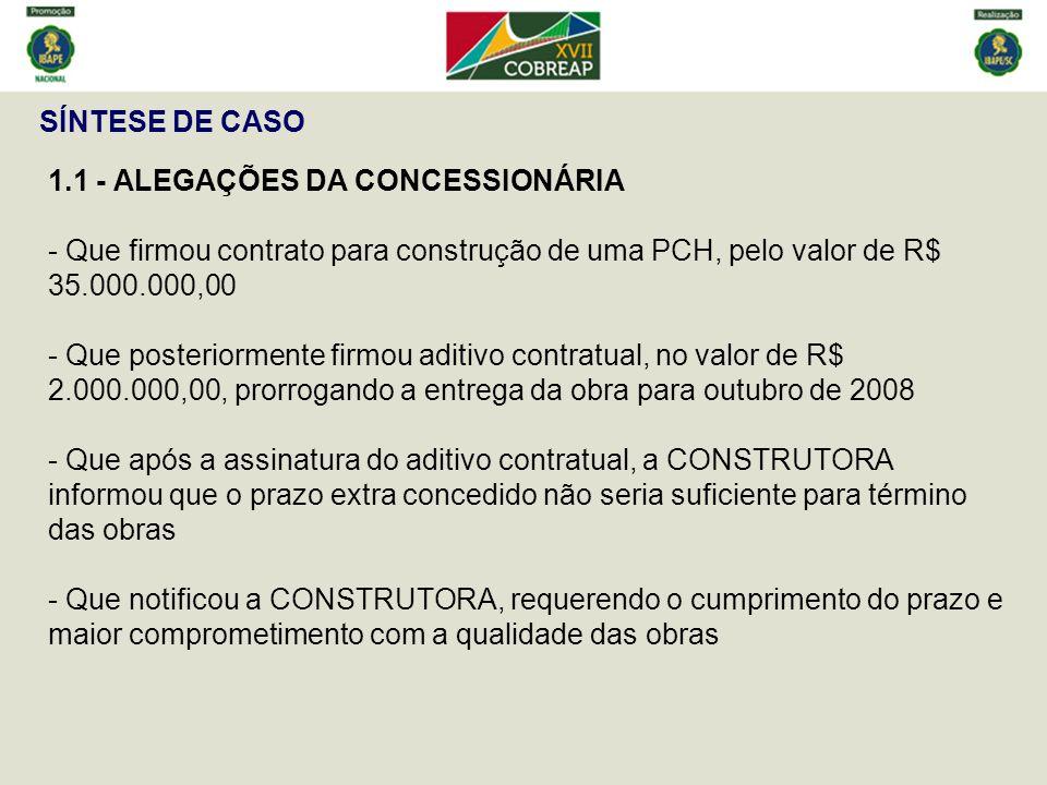 SÍNTESE DE CASO 1.1 - ALEGAÇÕES DA CONCESSIONÁRIA. - Que firmou contrato para construção de uma PCH, pelo valor de R$ 35.000.000,00.