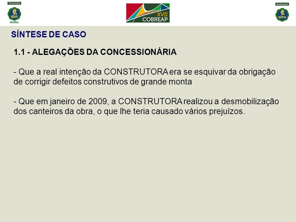 SÍNTESE DE CASO 1.1 - ALEGAÇÕES DA CONCESSIONÁRIA.