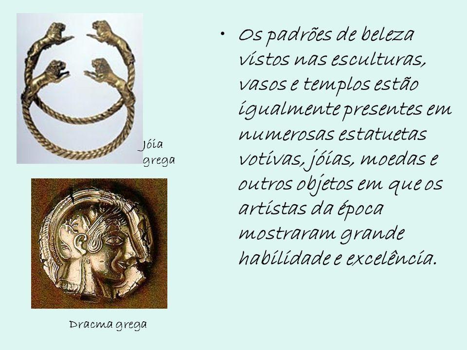 Os padrões de beleza vistos nas esculturas, vasos e templos estão igualmente presentes em numerosas estatuetas votivas, jóias, moedas e outros objetos em que os artistas da época mostraram grande habilidade e excelência.