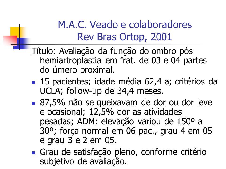 M.A.C. Veado e colaboradores Rev Bras Ortop, 2001