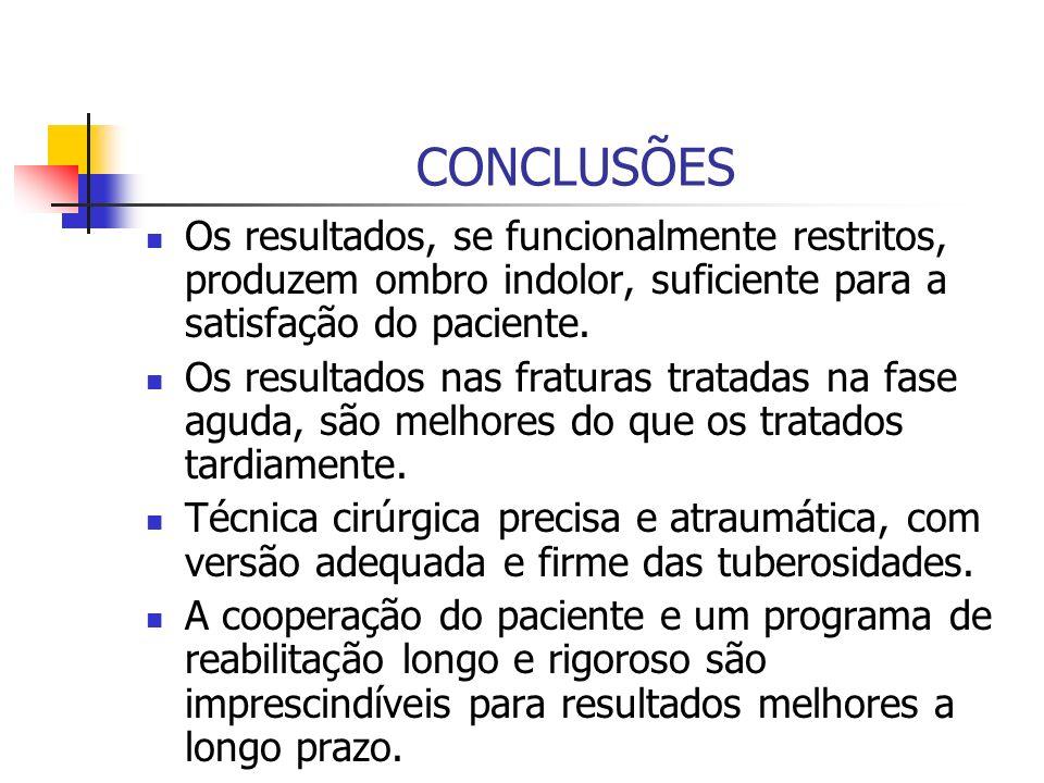CONCLUSÕES Os resultados, se funcionalmente restritos, produzem ombro indolor, suficiente para a satisfação do paciente.