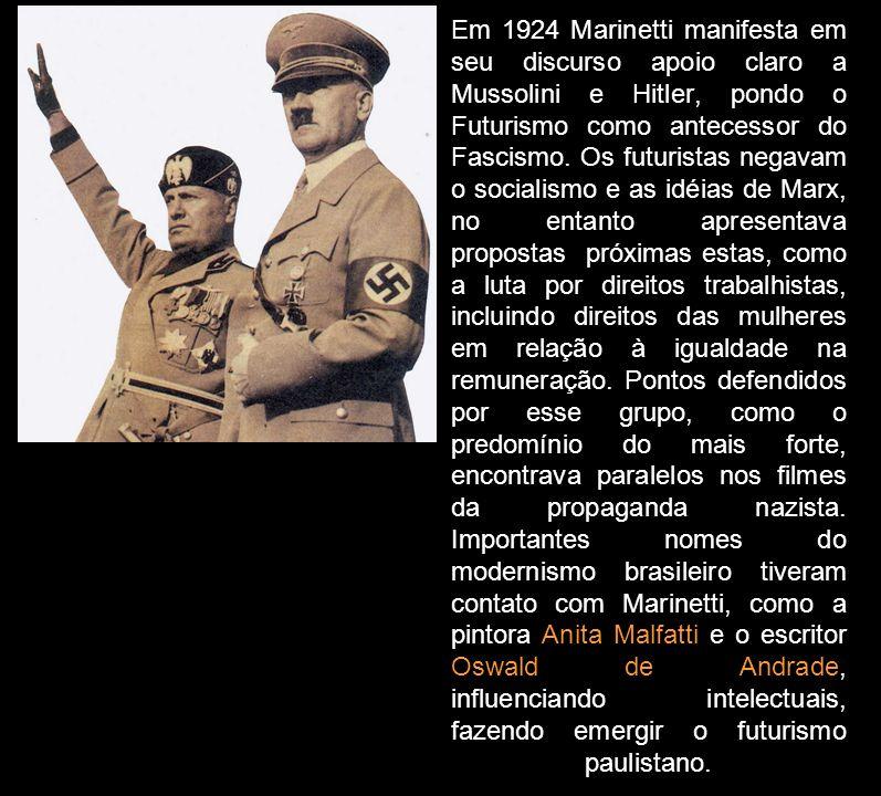 Em 1924 Marinetti manifesta em seu discurso apoio claro a Mussolini e Hitler, pondo o Futurismo como antecessor do Fascismo.