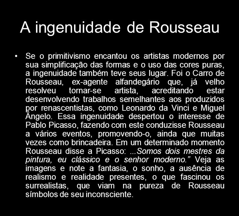 A ingenuidade de Rousseau