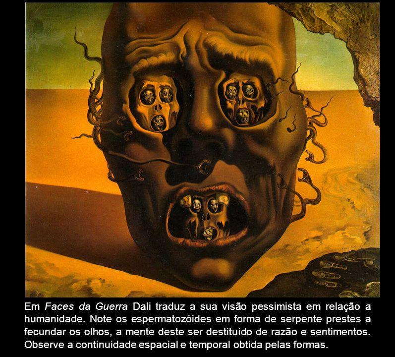Em Faces da Guerra Dali traduz a sua visão pessimista em relação a humanidade.