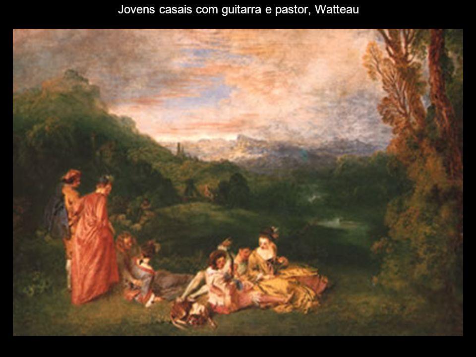 Jovens casais com guitarra e pastor, Watteau