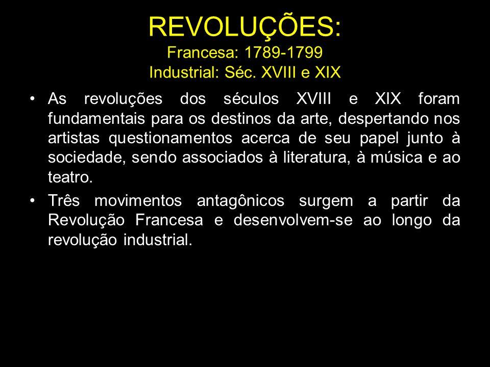 REVOLUÇÕES: Francesa: 1789-1799 Industrial: Séc. XVIII e XIX