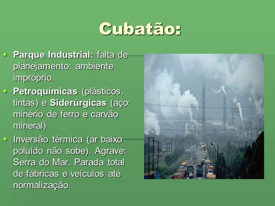 Cubatão: Parque Industrial: falta de planejamento: ambiente impróprio.