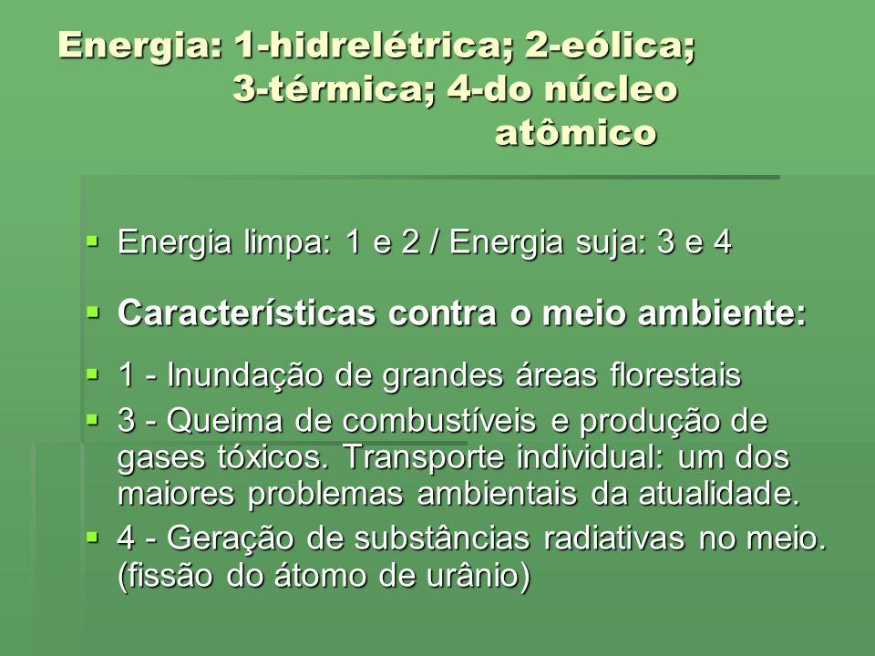 Energia: 1-hidrelétrica; 2-eólica; 3-térmica; 4-do núcleo atômico