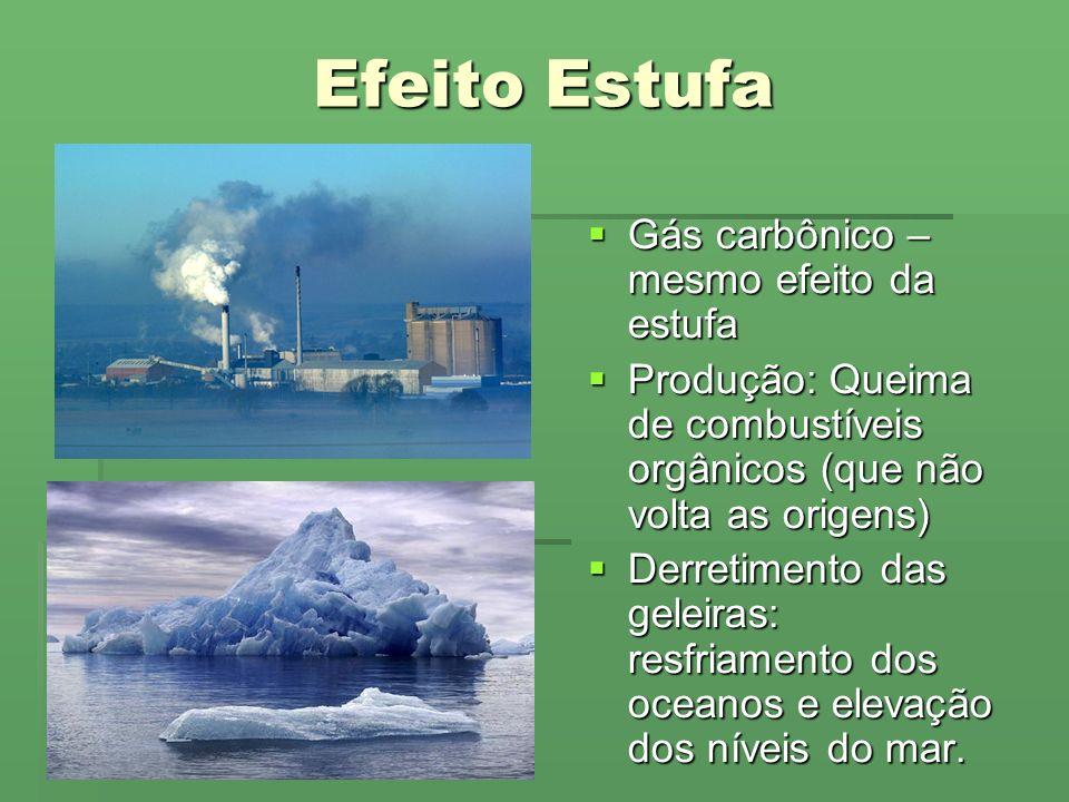 Efeito Estufa Gás carbônico – mesmo efeito da estufa