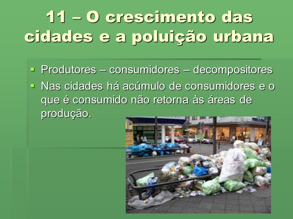 11 – O crescimento das cidades e a poluição urbana