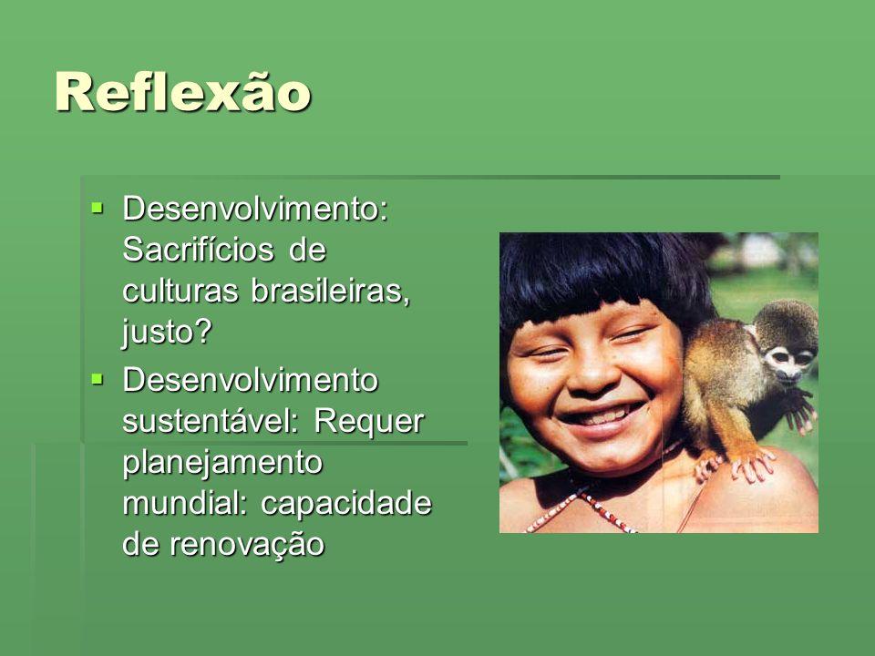 Reflexão Desenvolvimento: Sacrifícios de culturas brasileiras, justo