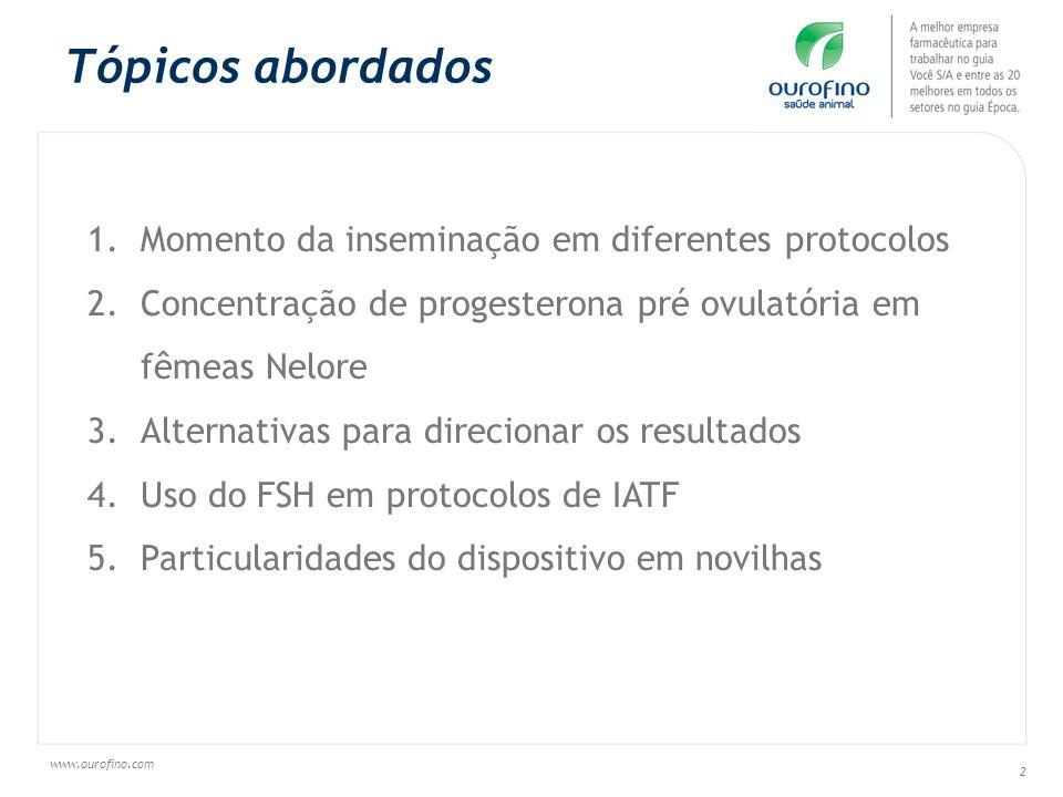 Tópicos abordados Momento da inseminação em diferentes protocolos