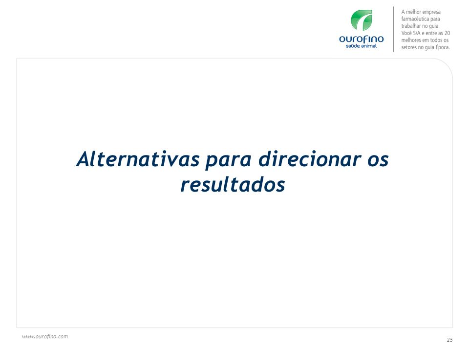 Alternativas para direcionar os resultados