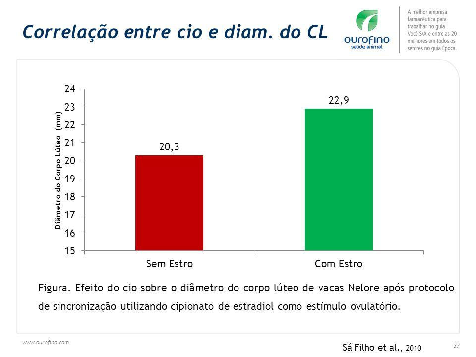 Correlação entre cio e diam. do CL