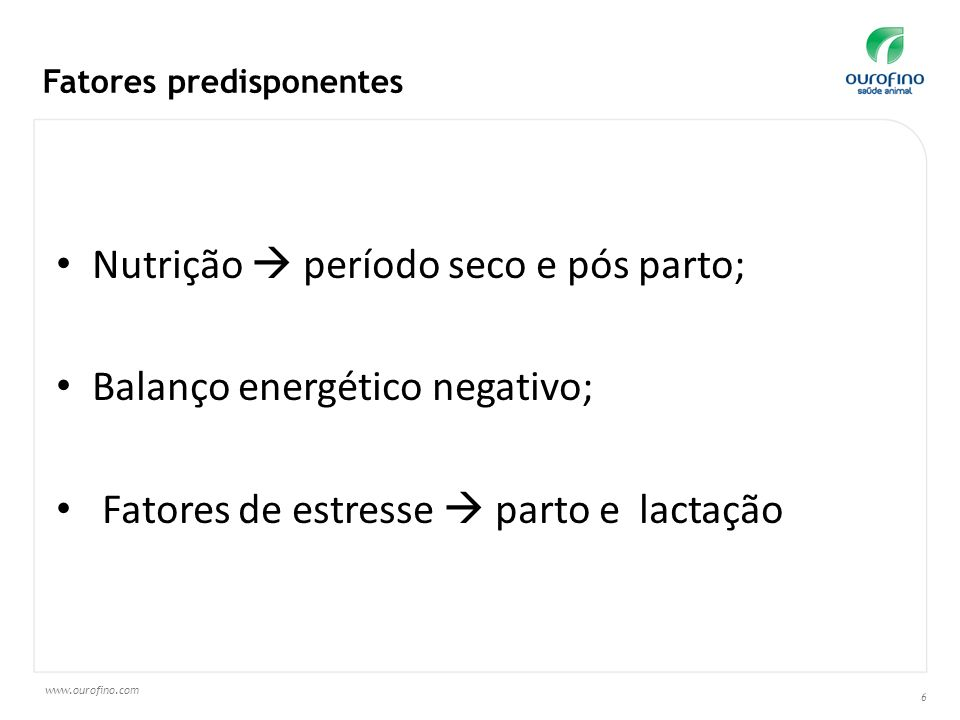 Nutrição  período seco e pós parto; Balanço energético negativo;