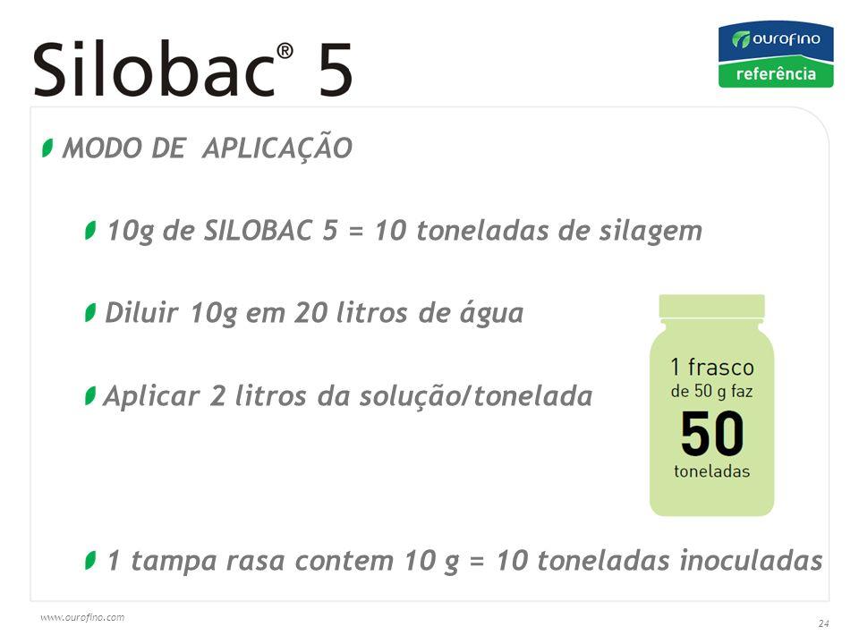 MODO DE APLICAÇÃO10g de SILOBAC 5 = 10 toneladas de silagem. Diluir 10g em 20 litros de água. Aplicar 2 litros da solução/tonelada.