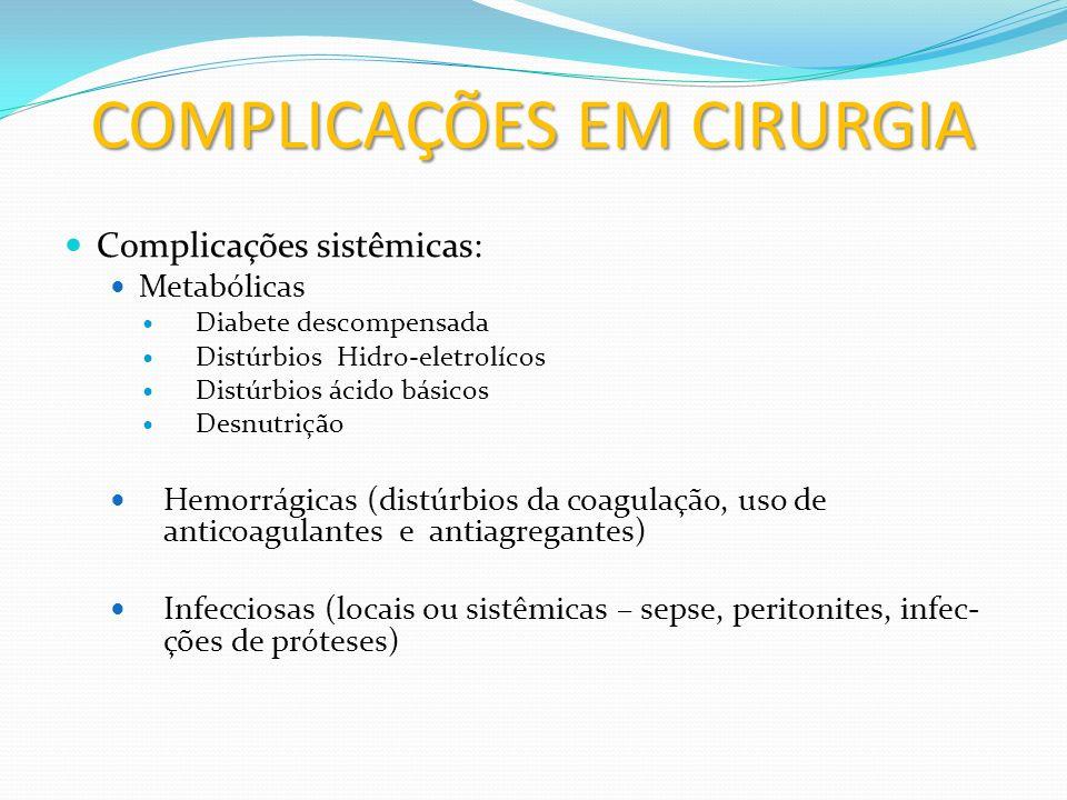 COMPLICAÇÕES EM CIRURGIA