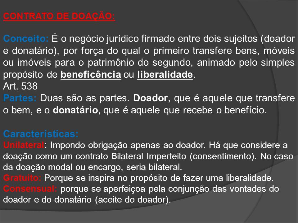 CONTRATO DE DOAÇÃO: