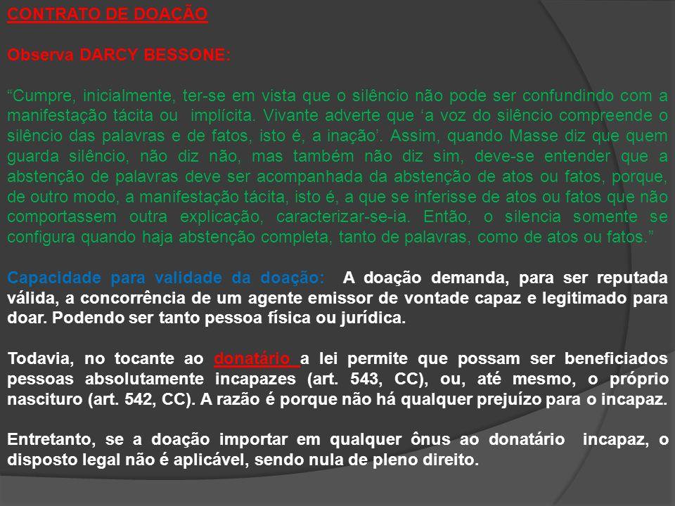 CONTRATO DE DOAÇÃO Observa DARCY BESSONE: