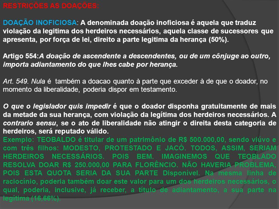 RESTRIÇÕES AS DOAÇÕES: