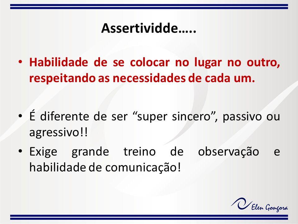 Assertividde….. Habilidade de se colocar no lugar no outro, respeitando as necessidades de cada um.
