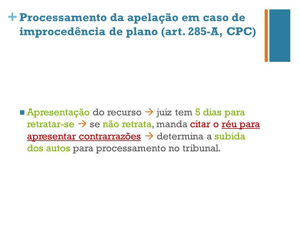 Processamento da apelação em caso de improcedência de plano (art