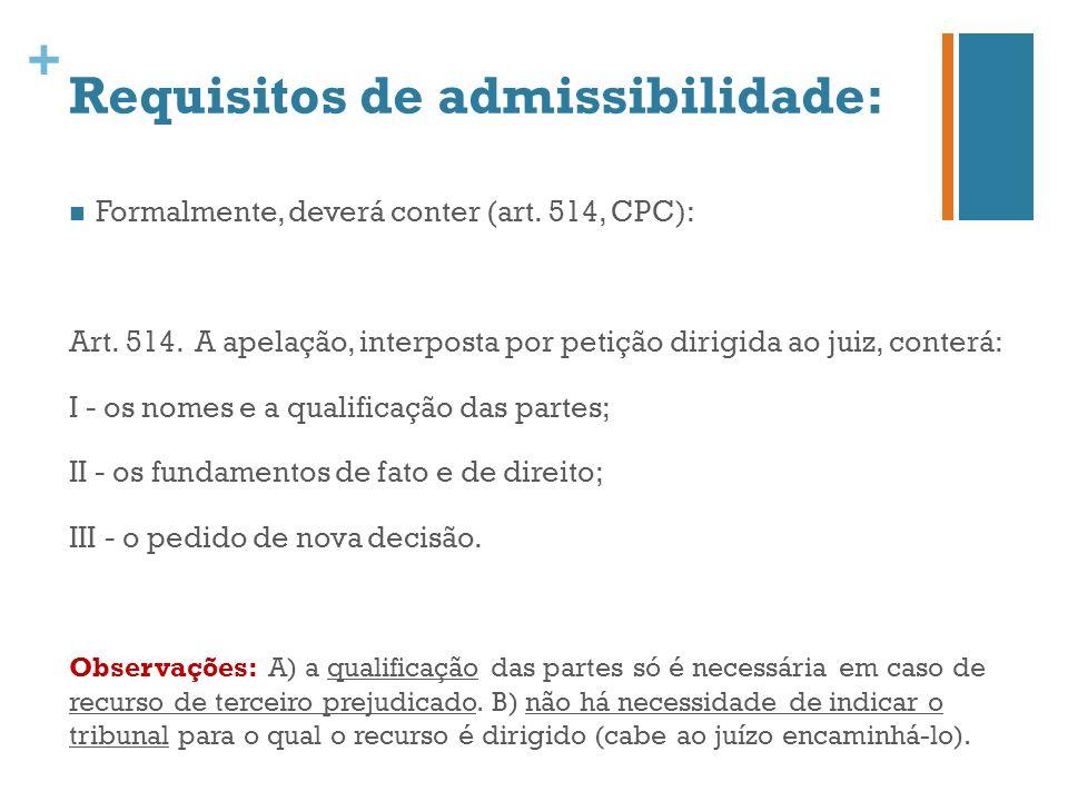 Requisitos de admissibilidade: