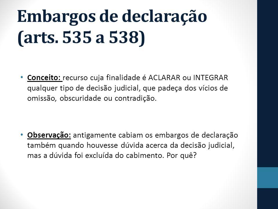 Embargos de declaração (arts. 535 a 538)