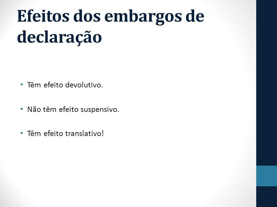 Efeitos dos embargos de declaração