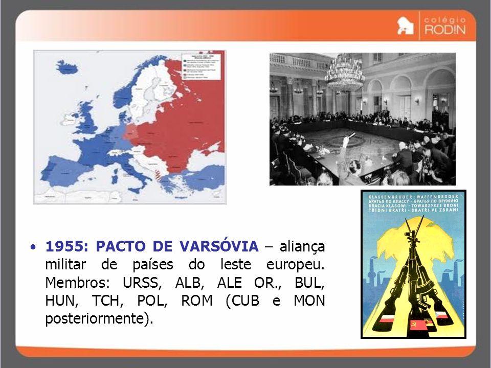 1955: PACTO DE VARSÓVIA – aliança militar de países do leste europeu
