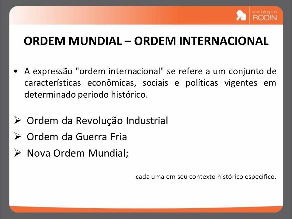 ORDEM MUNDIAL – ORDEM INTERNACIONAL