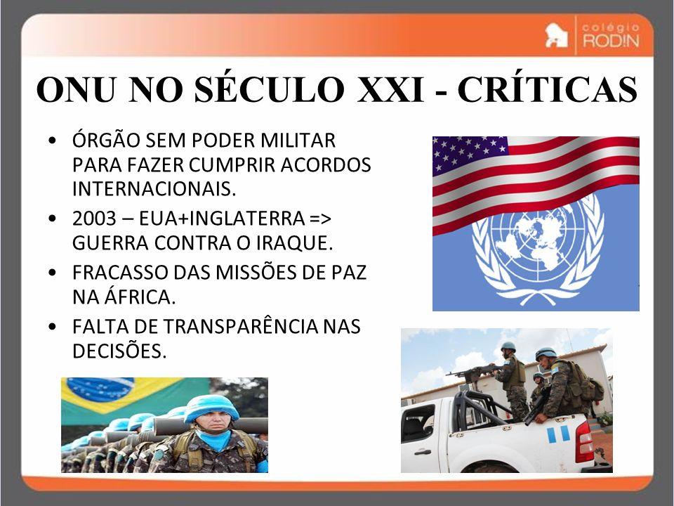 ONU NO SÉCULO XXI - CRÍTICAS