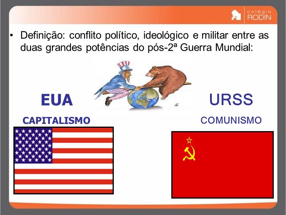 Definição: conflito político, ideológico e militar entre as duas grandes potências do pós-2ª Guerra Mundial: