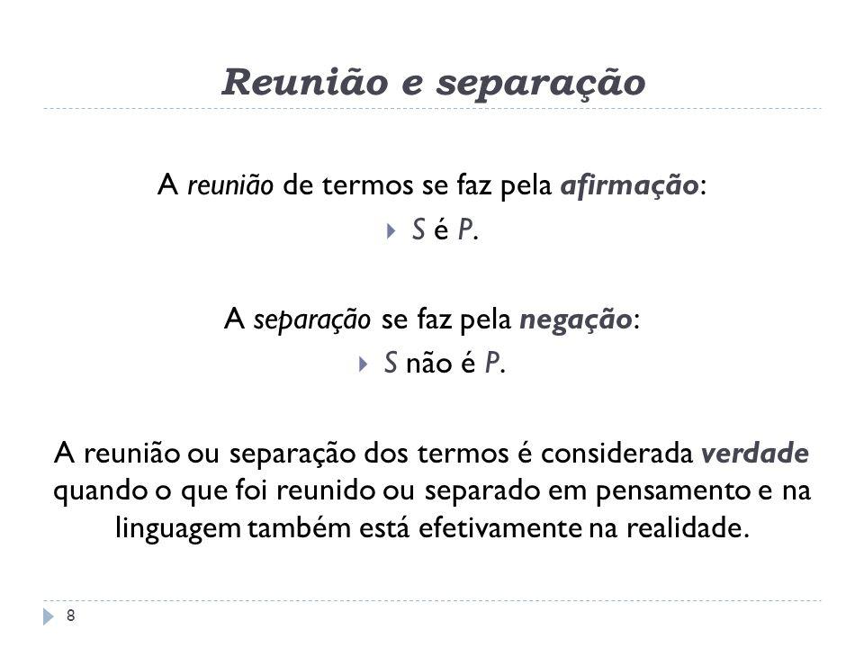 Reunião e separação A reunião de termos se faz pela afirmação: S é P.