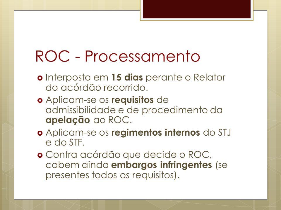 ROC - Processamento Interposto em 15 dias perante o Relator do acórdão recorrido.