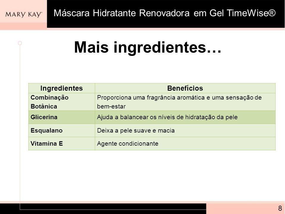 Mais ingredientes… Máscara Hidratante Renovadora em Gel TimeWise®