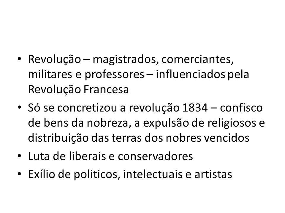 Revolução – magistrados, comerciantes, militares e professores – influenciados pela Revolução Francesa