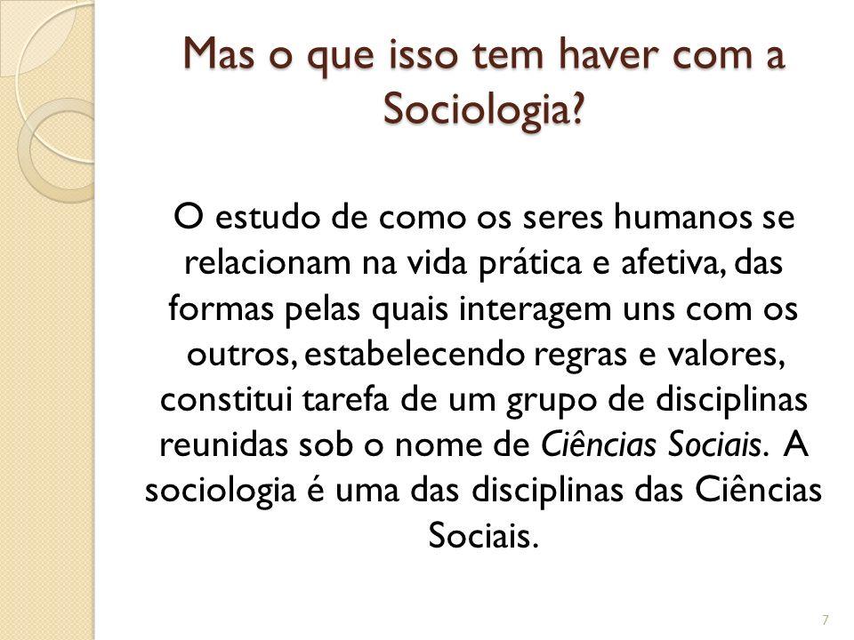 Mas o que isso tem haver com a Sociologia