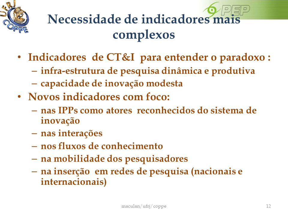 Necessidade de indicadores mais complexos